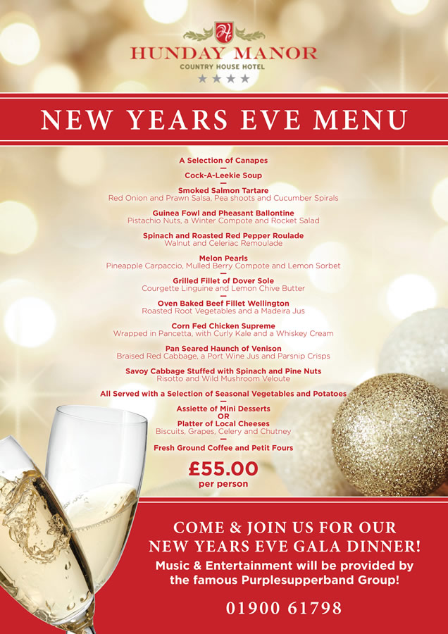 NEW YEARS EVE GALA DINNER!